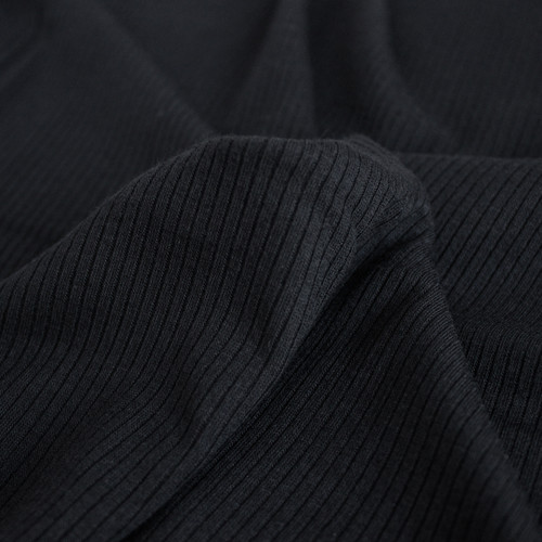 Light Weight Modal Rib Knit - Black