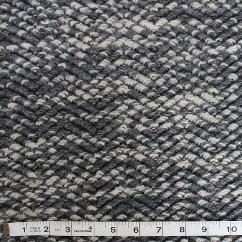 Lush Wool Herringbone Boucle - Grey/Cream - 1/2 meter
