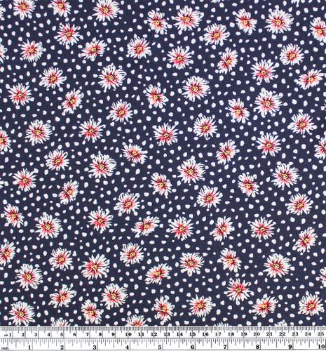 Daisy Lightweight Viscose Poplin - Navy | Blackbird Fabrics