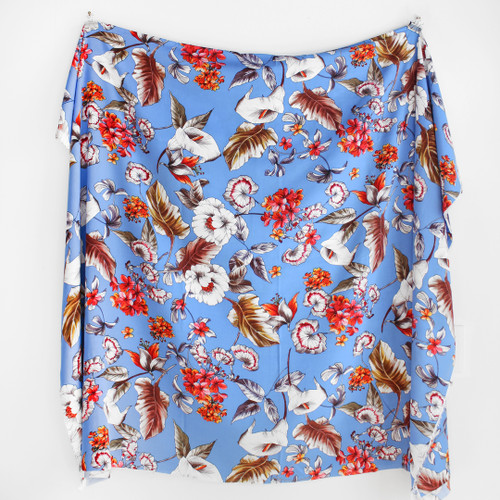 Sketched Floral Viscose Poplin - Blue | Blackbird Fabrics