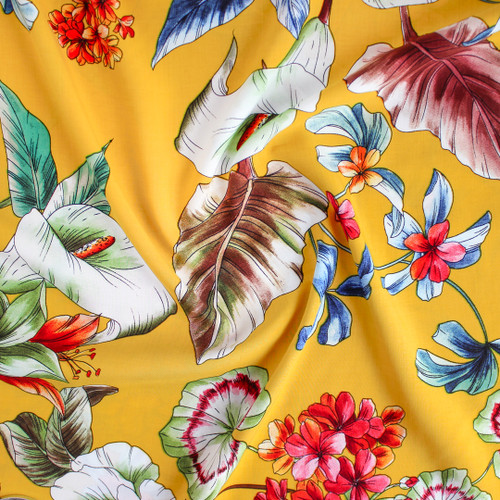 Sketched Floral Viscose Poplin - Yellow | Blackbird Fabrics