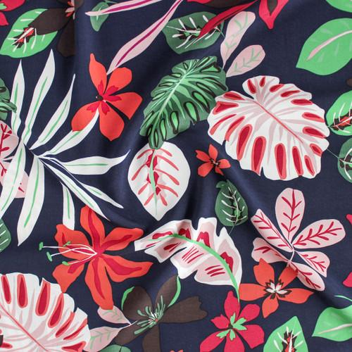 Tropical Viscose Poplin - Navy   Blackbird Fabrics