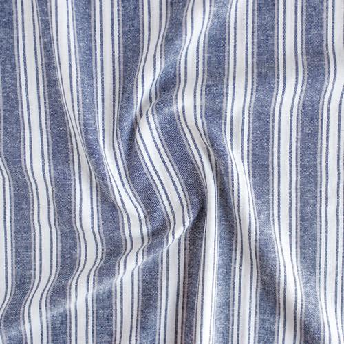 Striped Linen Rayon - Navy/Tan/Ecru | Blackbird Fabrics