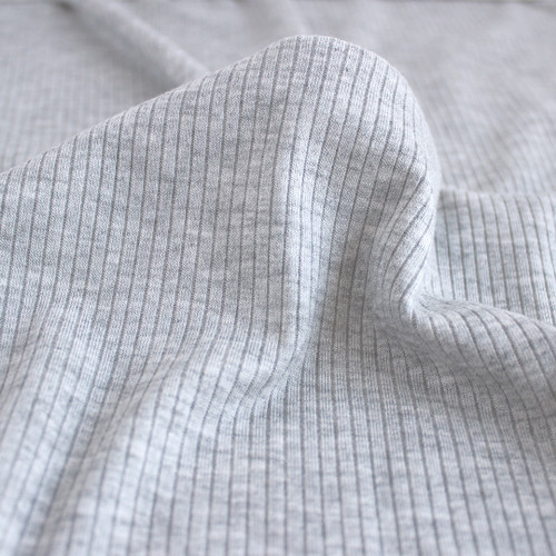 Light Weight Modal Rib Knit - Light Heathered Grey | Blackbird Fabrics
