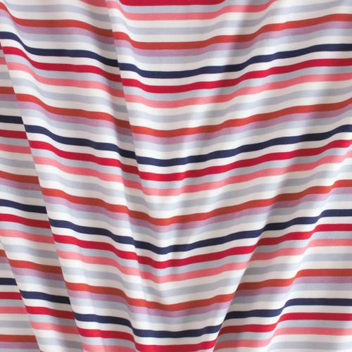 Retro Striped Cotton Jersey Knit - Lilac/Raspberry | Blackbird Fabrics
