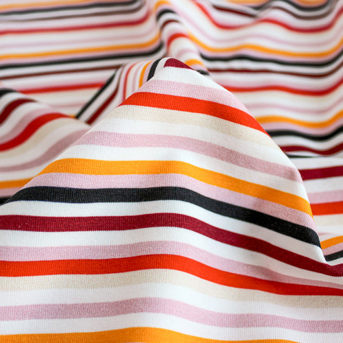 Retro Striped Cotton Jersey Knit - Gold/Red | Blackbird Fabrics
