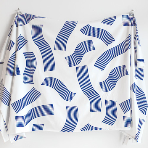 Wavy Striped Cotton Jersey Knit - Ivory/Cobalt | Blackbird Fabrics