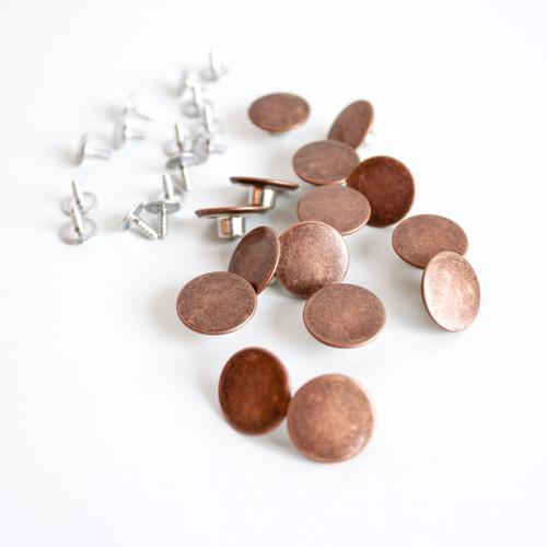 Jeans Buttons (17mm) - Antique Copper - Set of 15 | Blackbird Fabrics