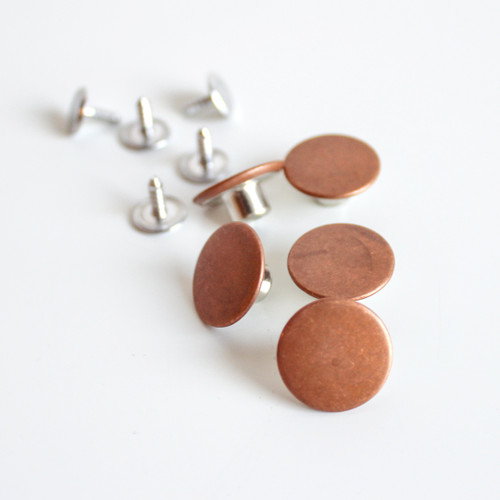 Jeans Buttons (15mm) - Copper - Set of 5   Blackbird Fabrics