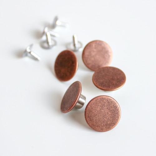 Jeans Buttons (15mm) - Antique Copper - Set of 5 | Blackbird Fabrics