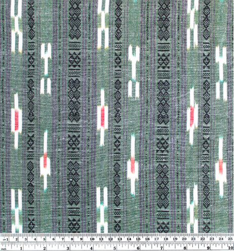 Patterned Stripe Cotton Ikat - Green/Black/Ivory - 1/2 meter