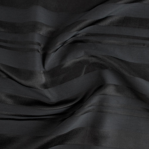 Self Stripe Viscose Linen Cotton - Black | Blackbird Fabrics