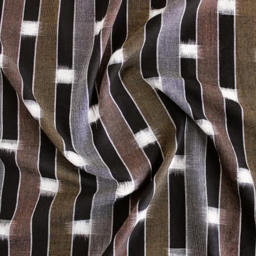 Handwoven Striped Cotton Ikat - Black/Copper/Mustard | Blackbird Fabrics