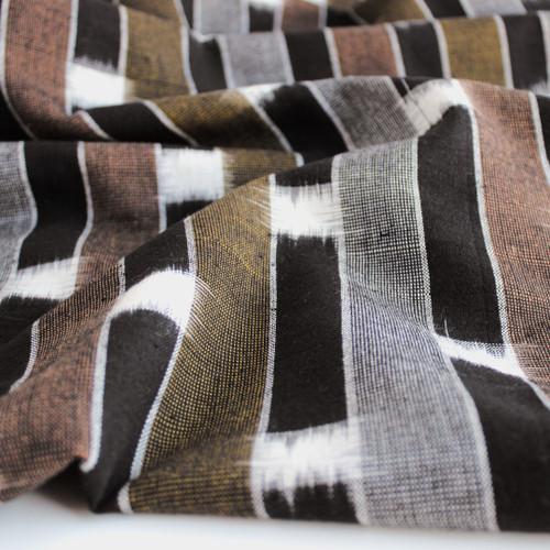 Handwoven Striped Cotton Ikat - Black/Copper/Mustard - 1/2 meter