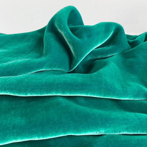 Silk Rayon Velvet - Iridescent Sea Green   Blackbird Fabrics