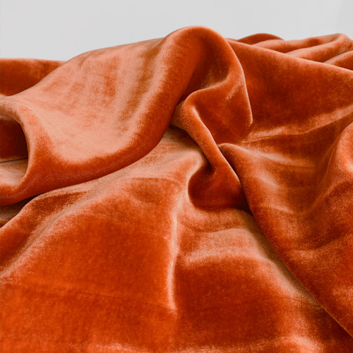 Silk Rayon Velvet - Iridescent Carrot | Blackbird Fabrics