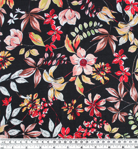 Wildflower Printed Viscose - Black/Multi - 1/2 meter