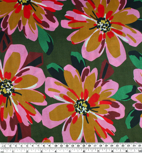 Vibrant Floral Printed Silk - Forest Green/Ochre/Pink | Blackbird Fabrics
