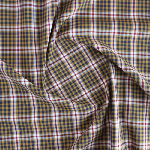 Plaid Cotton Shirting - Mustard/Navy/Red | Blackbird Fabrics