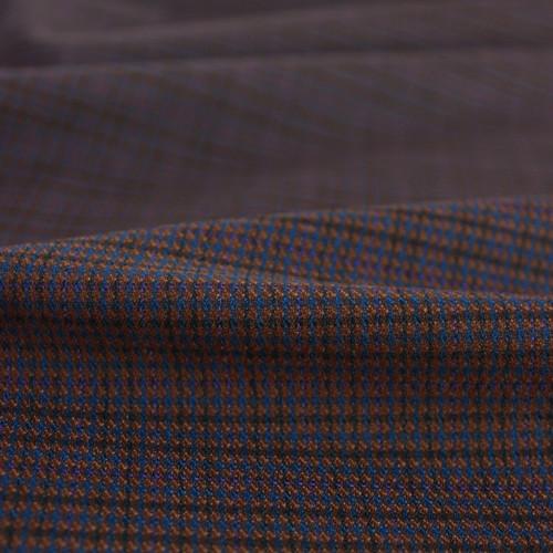 Poly Blend Check Plaid Suiting - Brown/Blue | Blackbird Fabrics