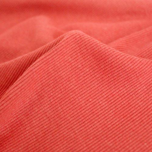 Bamboo & Cotton Sweatshirt Ribbing - Deep Coral | Blackbird Fabrics