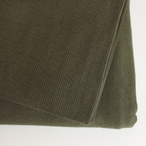 Bamboo & Cotton Sweatshirt Ribbing - Olive | Blackbird Fabrics