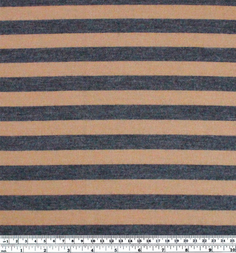Japanese Deadstock Striped Wool Jersey Knit - Camel/Charcoal | Blackbird Fabrics