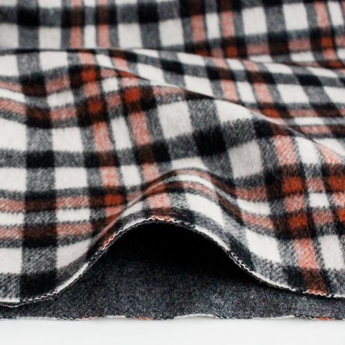 Japanese Deadstock Plaid Wool Blend Coating - Black/Ivory/Rust - 1/2 meter