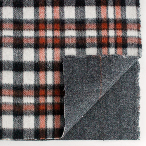 Japanese Deadstock Plaid Wool Blend Coating - Black/Ivory/Rust | Blackbird Fabrics