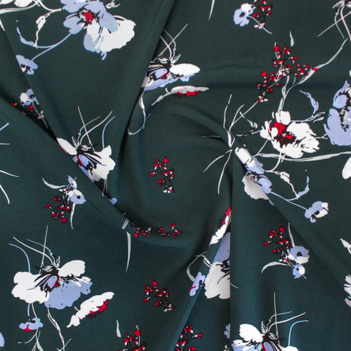Wild Poppy Viscose Poplin - Lagoon   Blackbird Fabrics