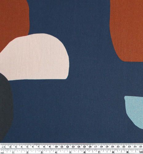 Rock Printed Viscose Challis - Blue | Blackbird Fabrics