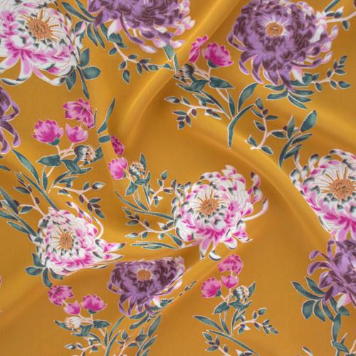 Chrysanthemum Floral Rayon Crepe - Mustard/Multi | Blackbird Fabrics