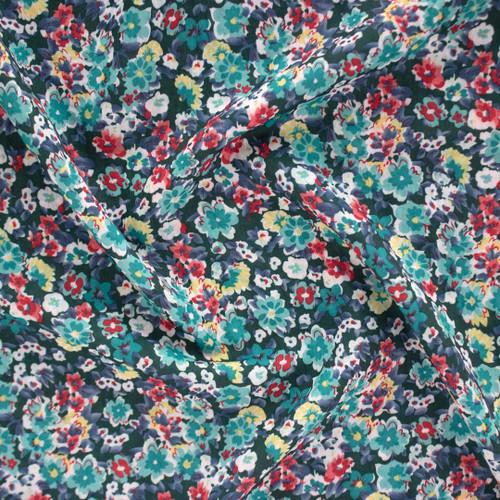 Vintage Floral Lightweight Shirting - Teal/Multi | Blackbird Fabrics