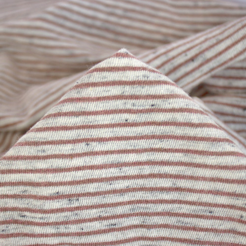 Micro-Stripe Speckled Jersey - Light Grey/Mauve/Charcoal | Blackbird Fabrics