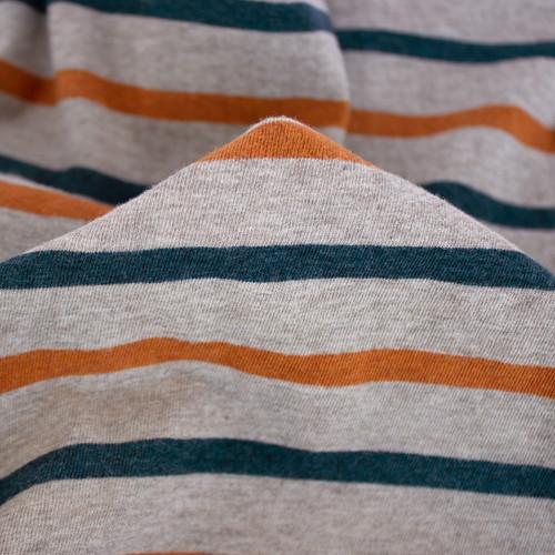 Striped Cotton Jersey - Heather Taupe/Rust/Teal | Blackbird Fabrics