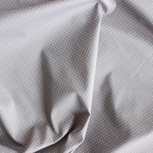 Polka Dot Stretch Cotton Shirting - Mouse Grey/White - 1/2 meter
