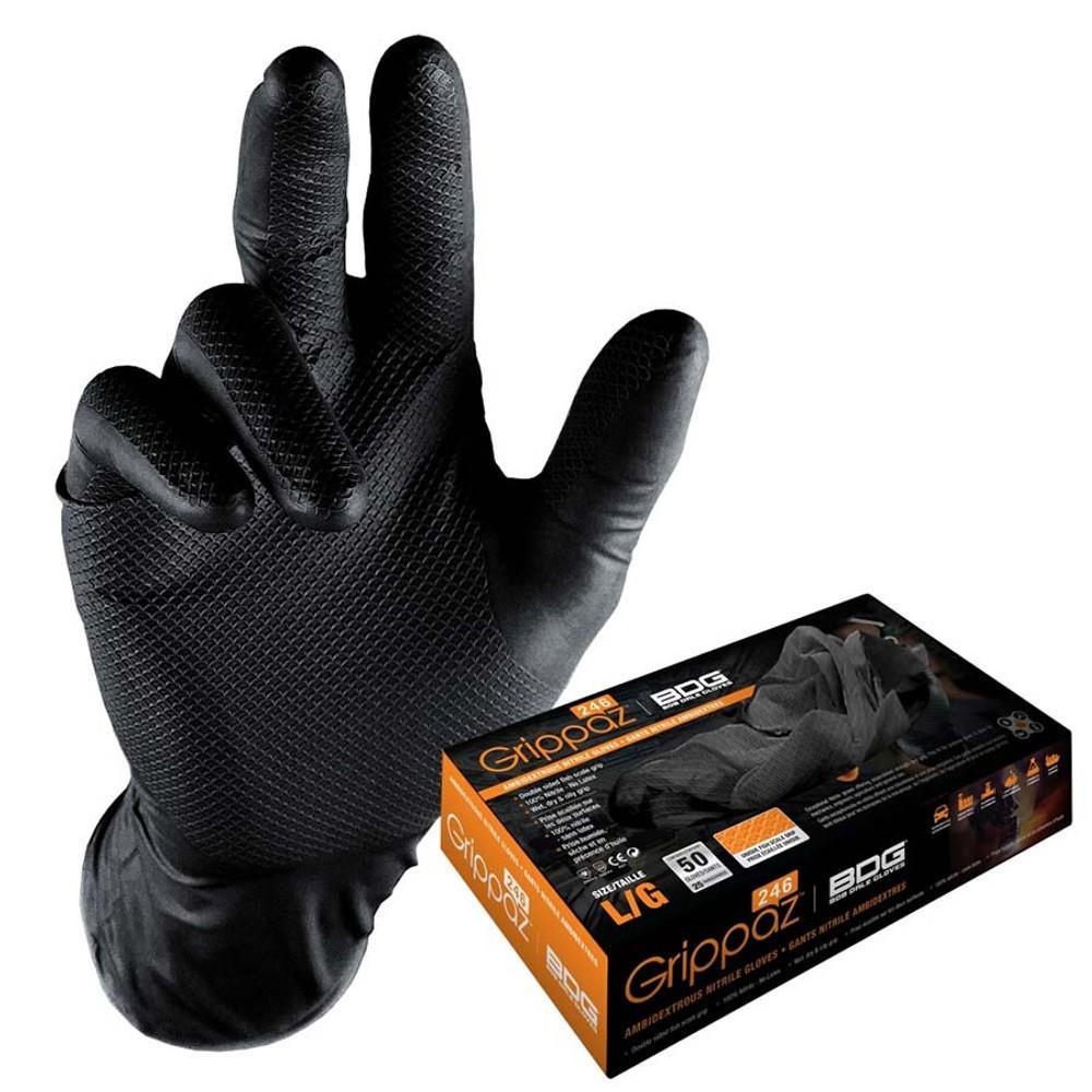 GRIPPAZ BLACK GLOVES- BOX 50