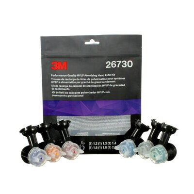 3M 26730 Performance Gravity HVLP Atomising Head variety pack
