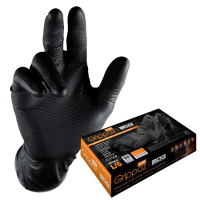 GRIPPAZ BLACK GLOVES- BOX 50