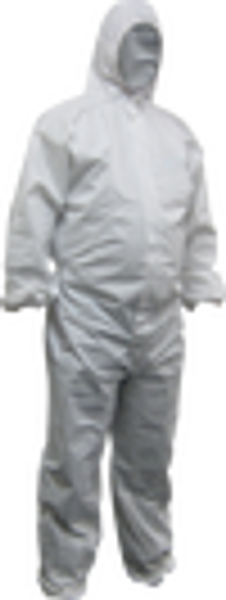 WHITE LAMINATED COVERALLBREATHABLE WATER REPELLANT