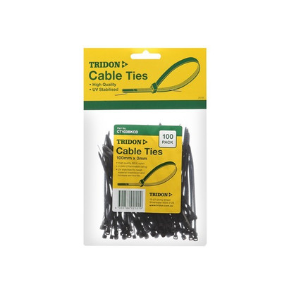 TRIDON 300MM X 5MM BLACK CABLE TIES (PK 100)