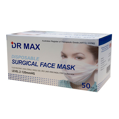 Dr Max Disposable Surgical Face Masks - 50 Pack, 98% BFE, 3PLY