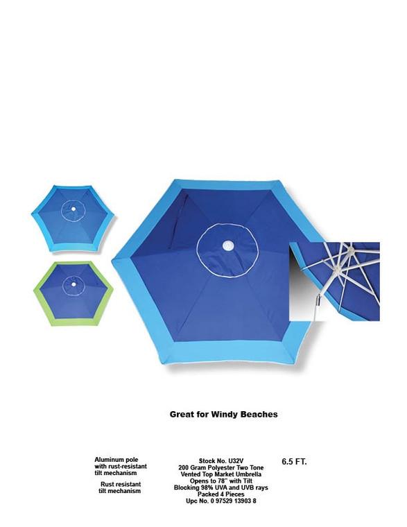 Vented Top Market Umbrella 6.5ft Two Tone