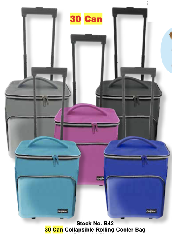 30 Can Collapsible Rolling Cooler Bag