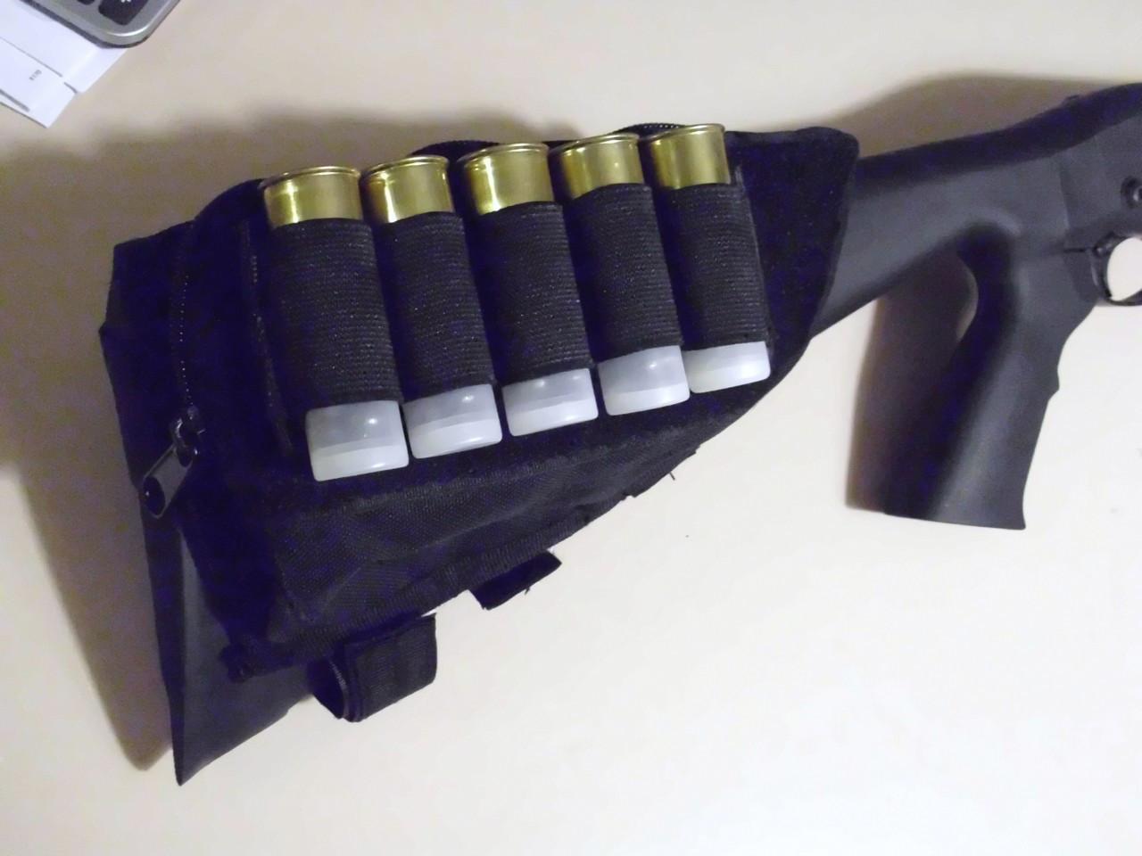 Tactical Butt Stock SHOTGUN Cheek Rest Ammo Pouch BLACK