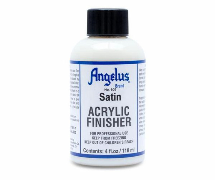Angelus satin finisher, satin finish, protect shoes from scrapes after painting