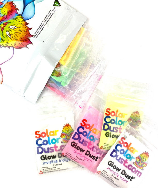SolarColorDust.com Glow Dust™ Glow in the Dark Powder Pigment Sample Pack