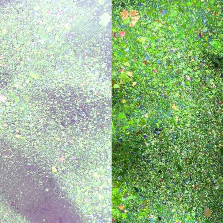 Green Purple-Red Iridescent Chroma Flakes - Iridescent chroma flakes shifting multi-colored flakes for resin art, nail art, tumblers, and more - SolarColorDust.com