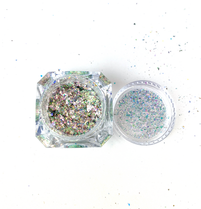 SolarColorDust.com Aurora Holographic Flakes - Crux - Iridescent Holographic Flakes for Resin, Tumblers, Nail Art, Art & Crafts, and More!