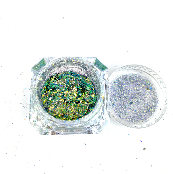 SolarColorDust.com Aurora Holographic Flakes - Draco - Iridescent Holographic Flakes for Resin, Tumblers, Nail Art, Art & Crafts, and More!